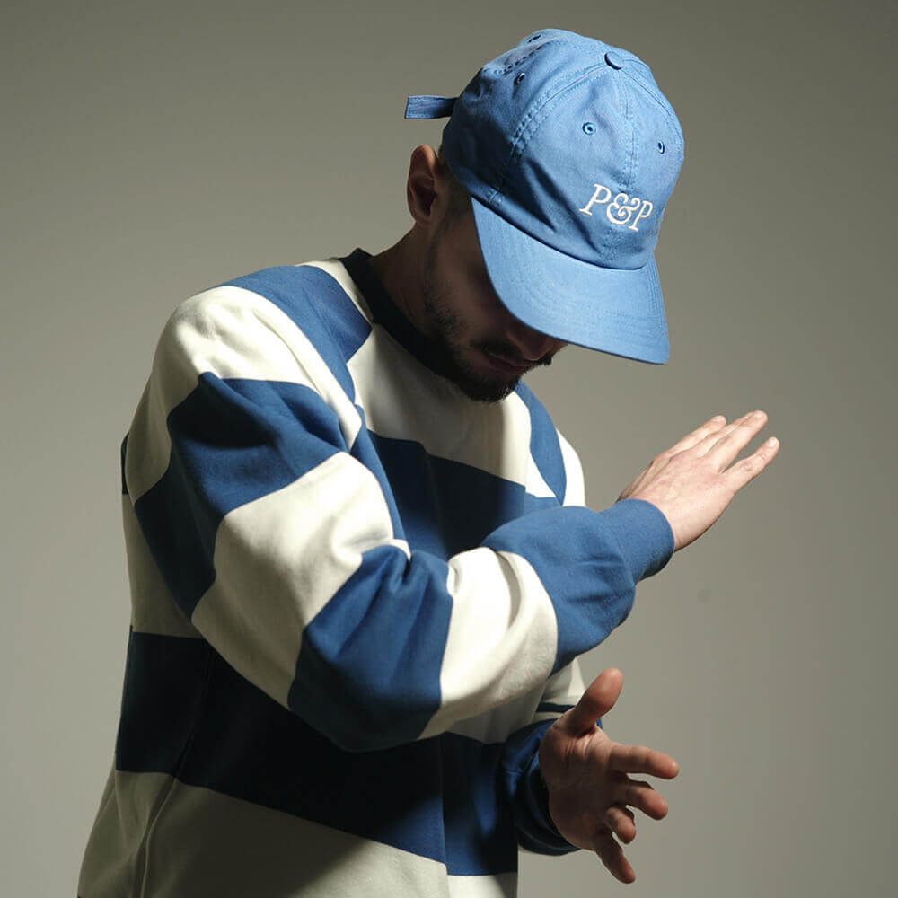 Big Stripes T-Shirt + 6 Panels Cap P&P Royal Blue