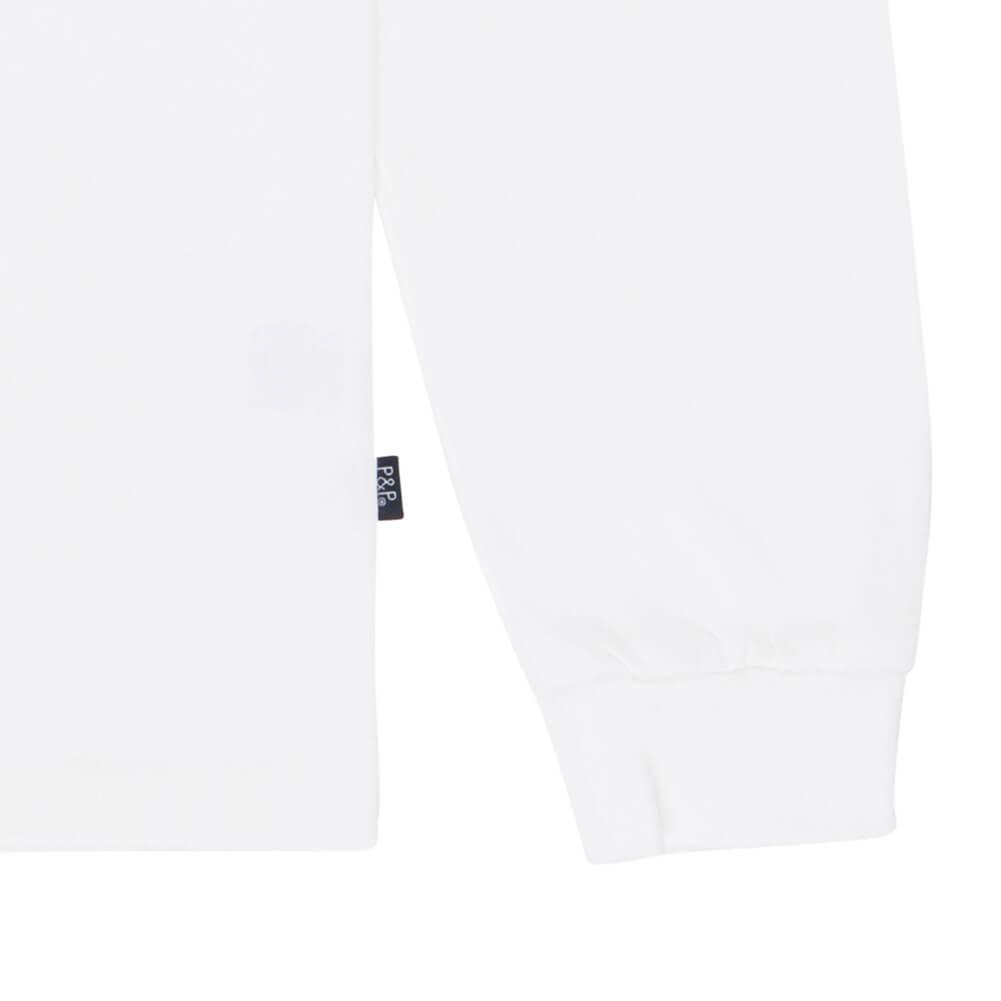 Organic Long Sleeve T-Shirt White Puppie Detail