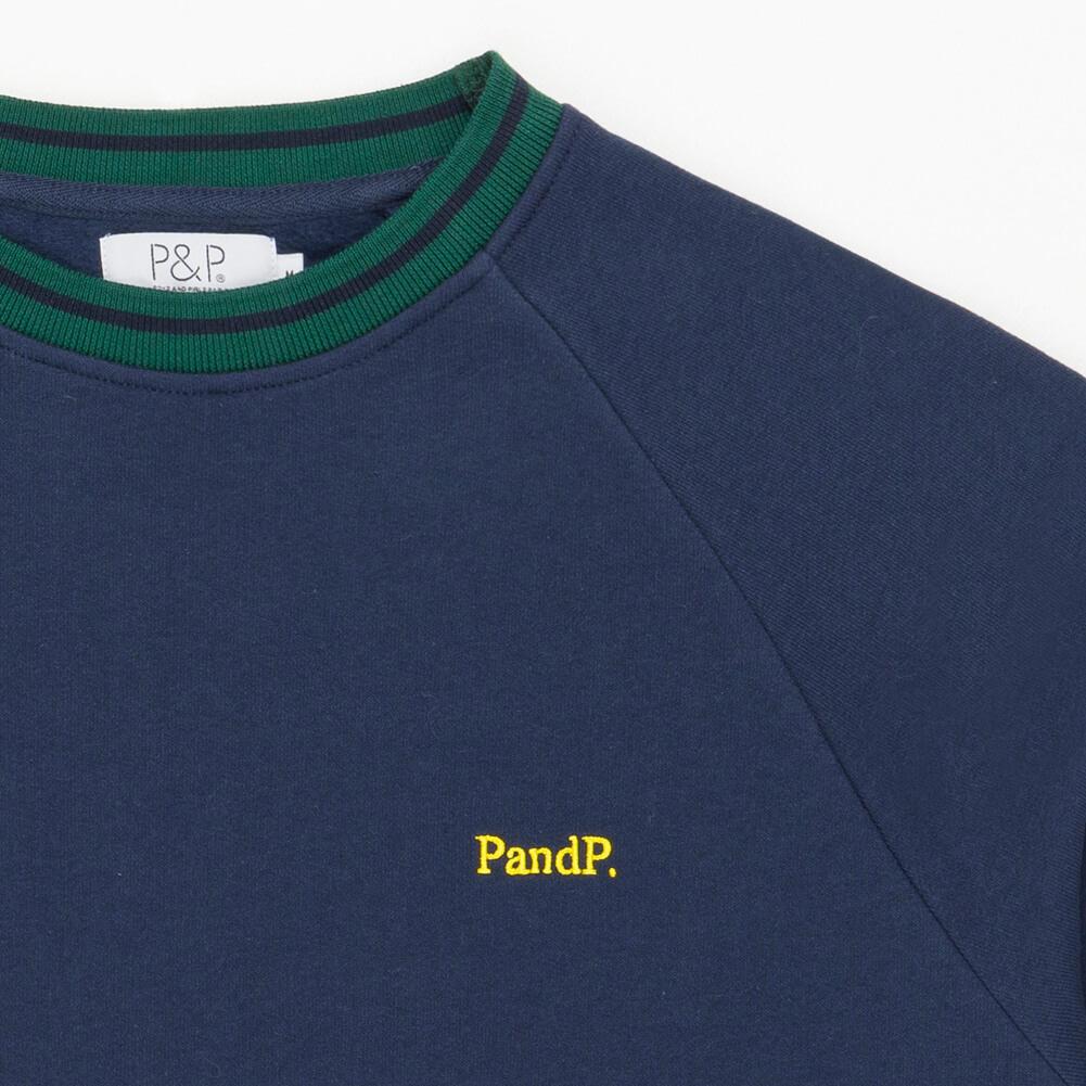 Crew Neck Sweatshirt PandP Navy Green Embroidery