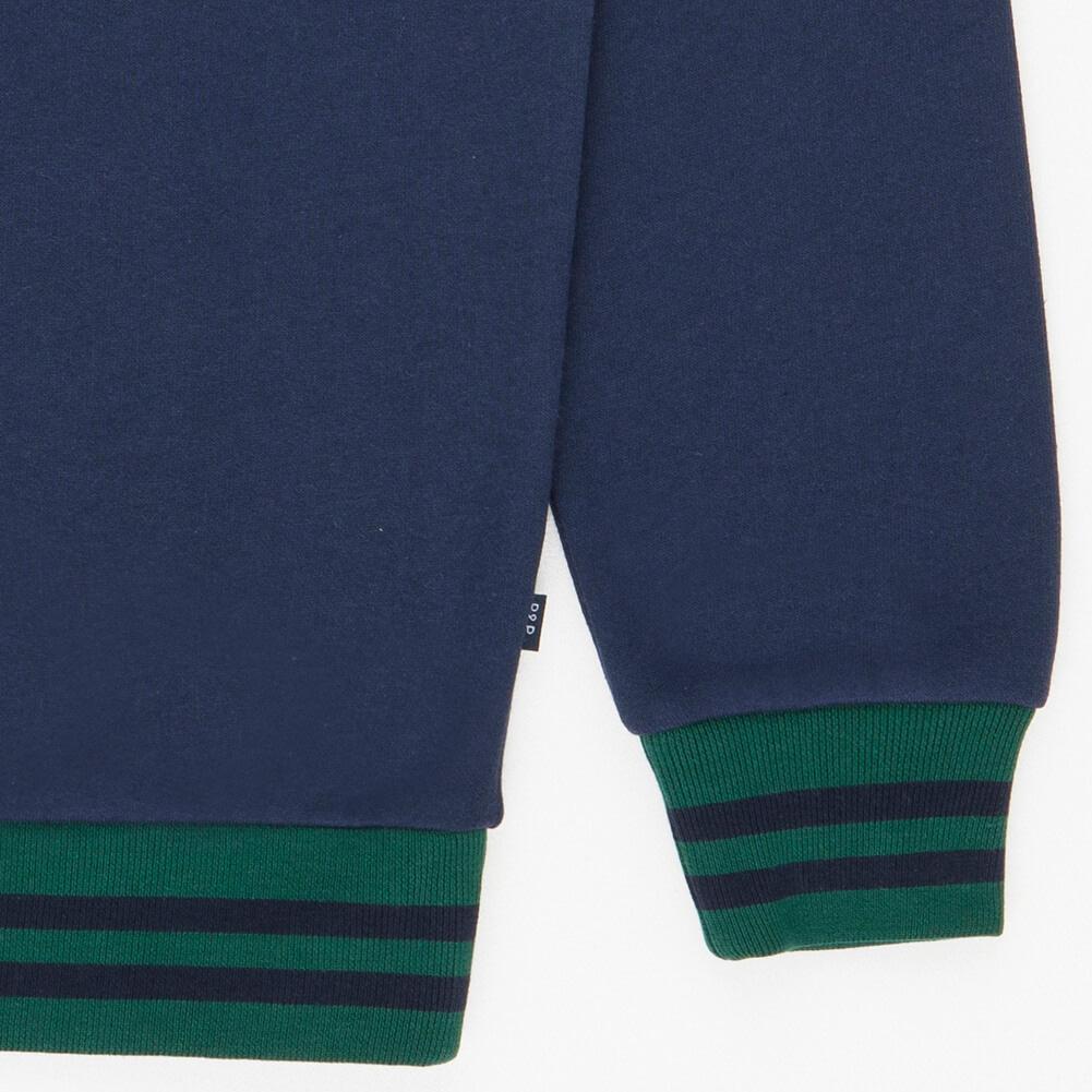 Crew Neck Sweatshirt PandP Navy Green Detail