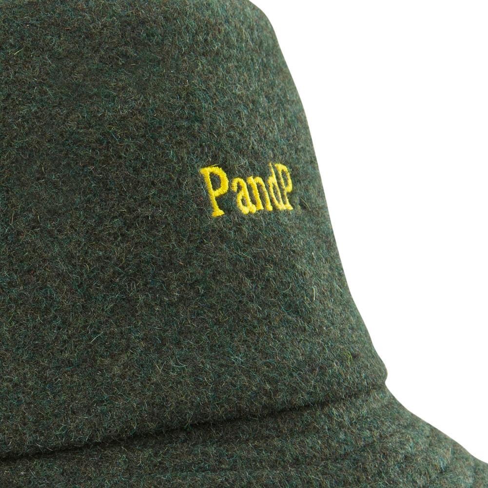 Bucket Hat P&P Dark Green Print Detail
