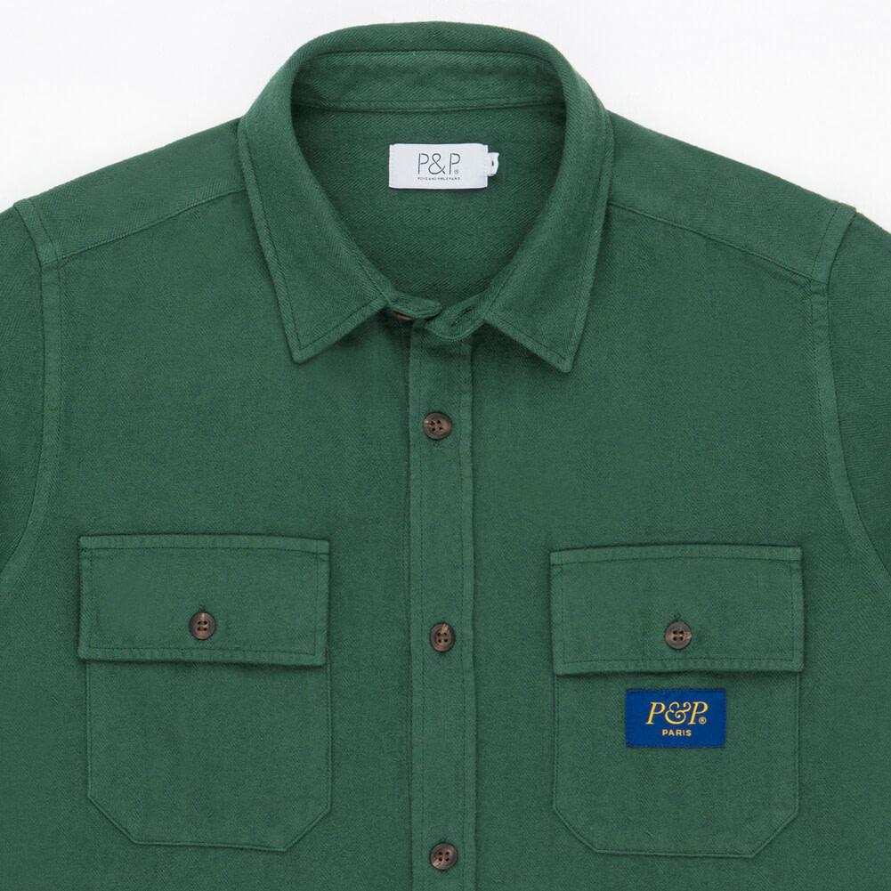 Flanel Shirt Dark Green Pocket detail