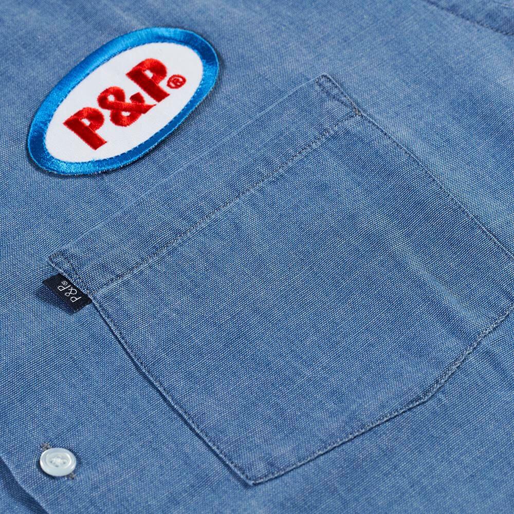 Button Up Shirt Ellipse Light Denim Embroidery and Pocket Detail