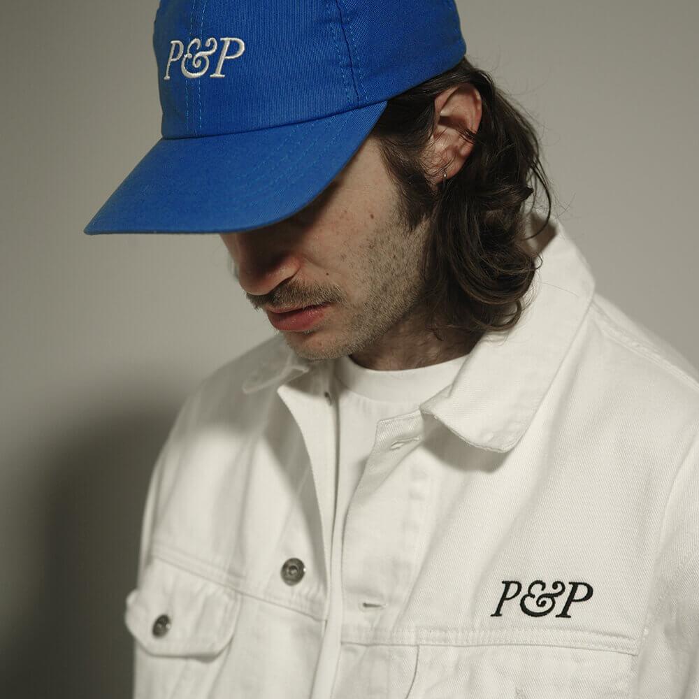 Jeans Jacket P&P White + 6 Panels Cap P&P Royal Blue