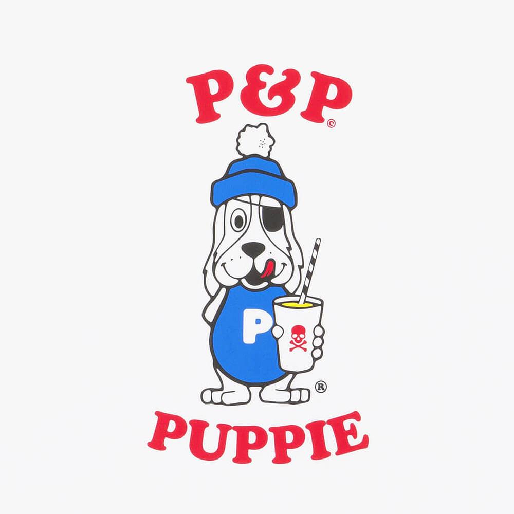 Organic White T-Shirt P&P Puppie Print Detail