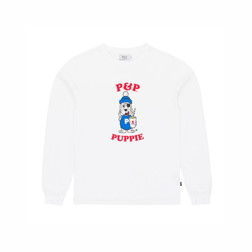 Organic Long Sleeve T-Shirt White Puppie