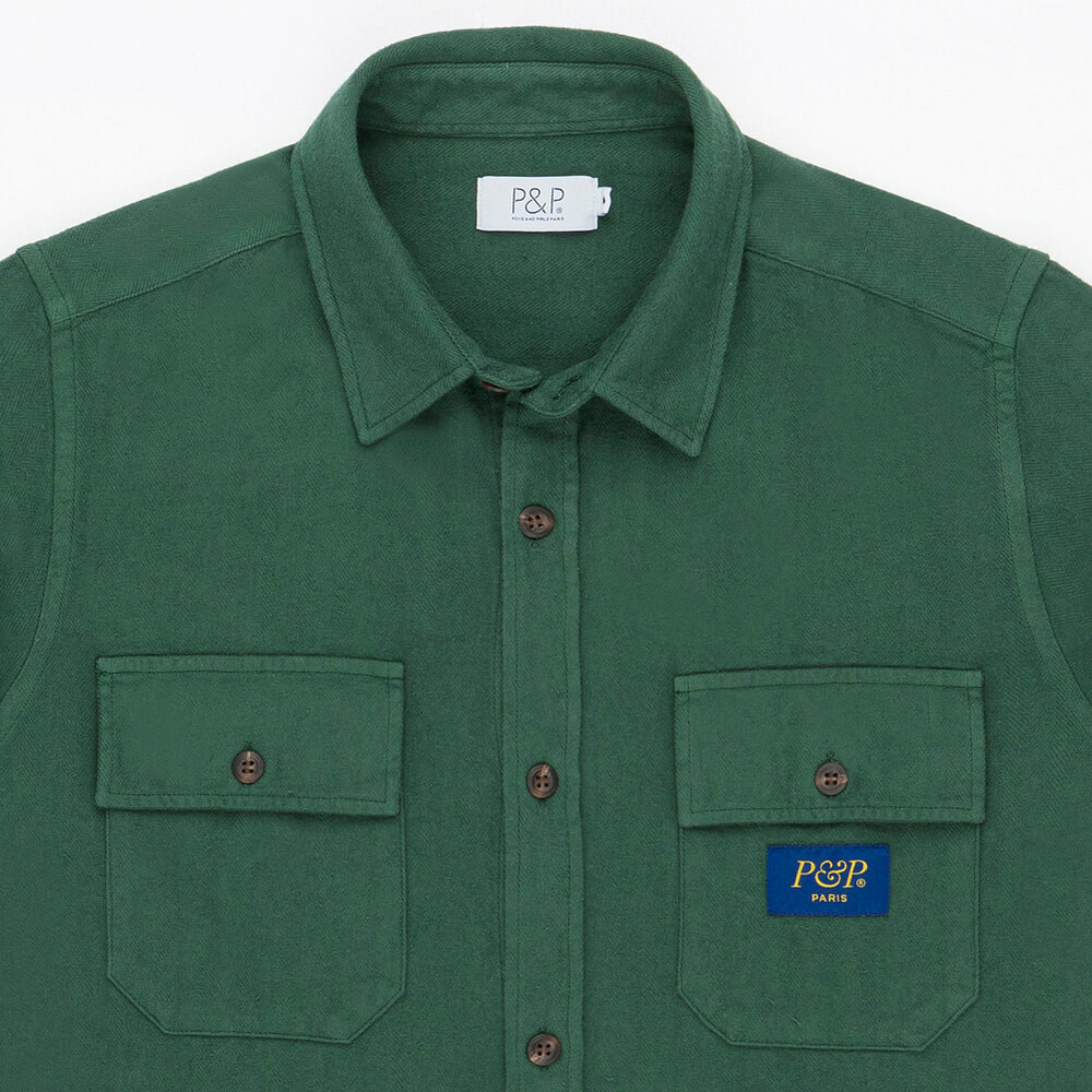 Flanel Shirt Dark Green Pocket detail