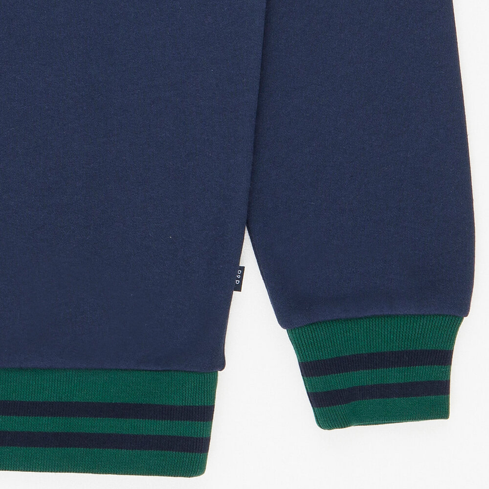 Crew Neck Sweatshirt PandP Navy Green Detail