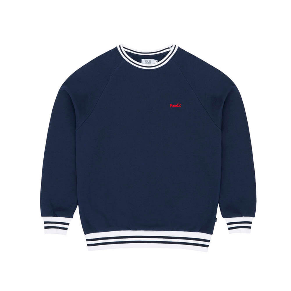 Striped Crew Neck Sweatshirt PandP Navy/Whyte