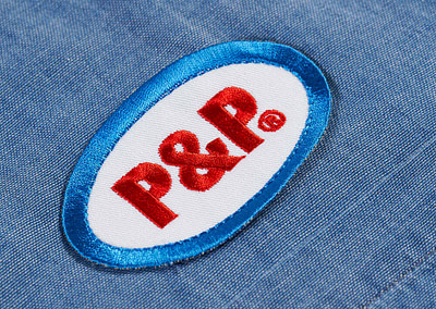 Button Up Shirt Ellipse Light Denim Embroidery Detail