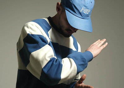 Big Stripes T-Shirt + 6 Panels Cap P&P Royal Blue