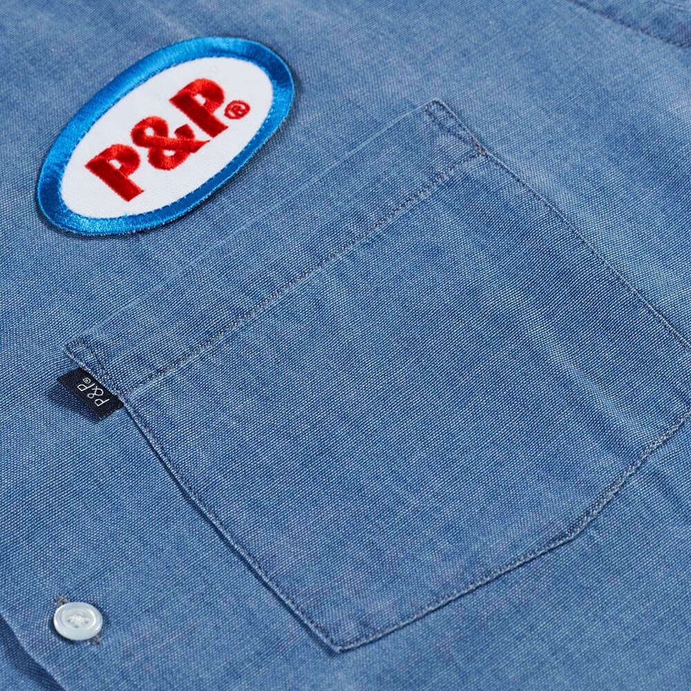 Button Up Shirt Ellipse Light Denim Embroidery and Pocket Detail