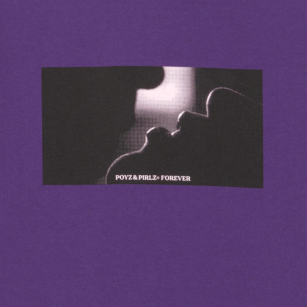 Organic Purple T-Shirt Kiss Detail Print