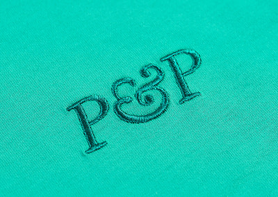 Organic T-Shirt P&P Green Detail Embroidery