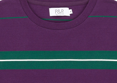 Striped Long Sleeve T-Shirt Tricolor Detail